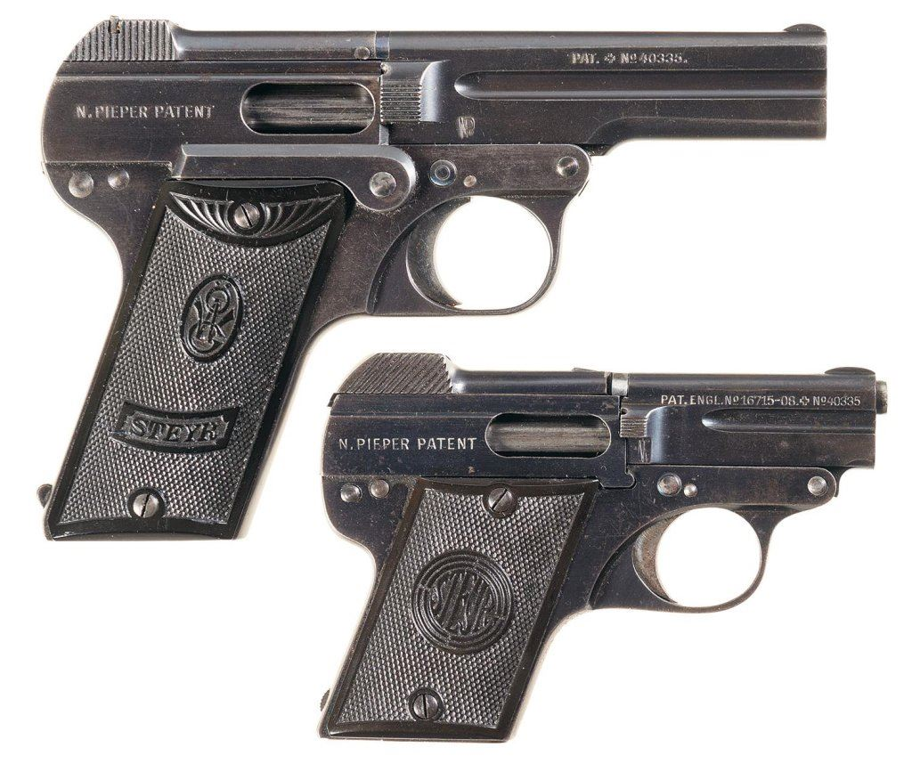 Two Steyr-Pieper Semi-Automatic Pistols with Holsters -A) Steyr Model 1908  Pistol