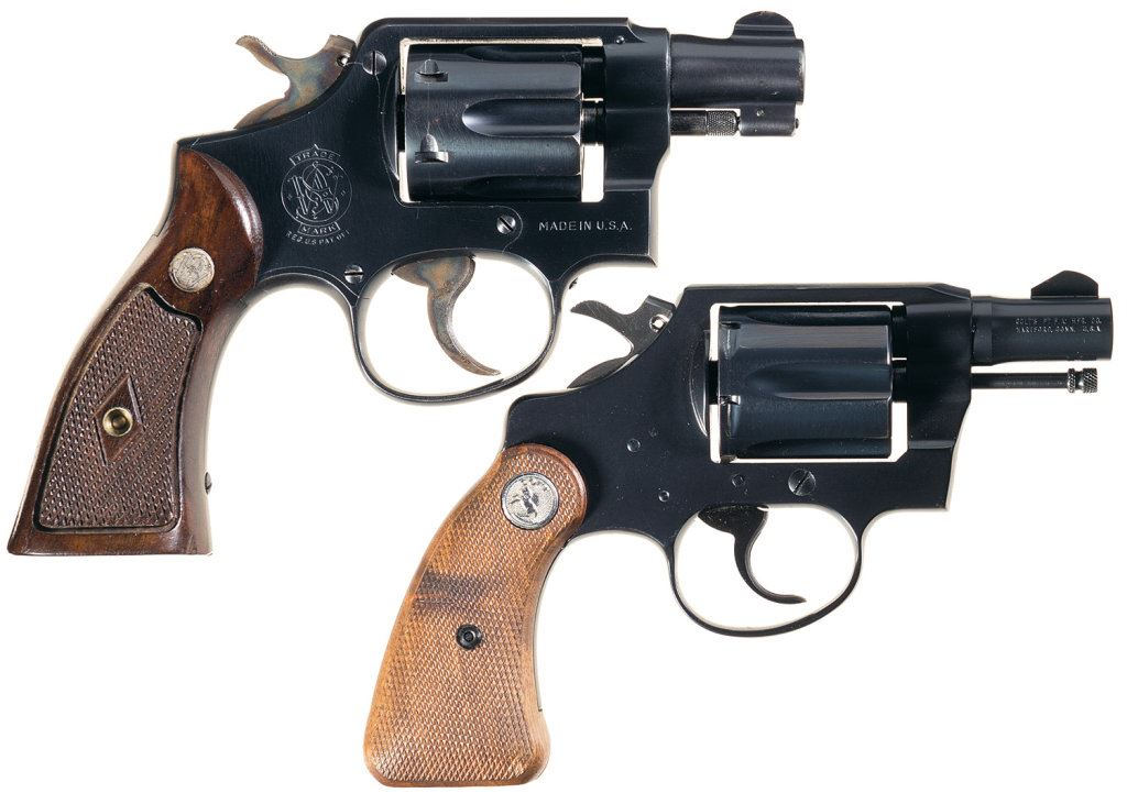 Two Snub Nose Double Action Revolvers -A) Smith & Wesson  38 M&P Revolver