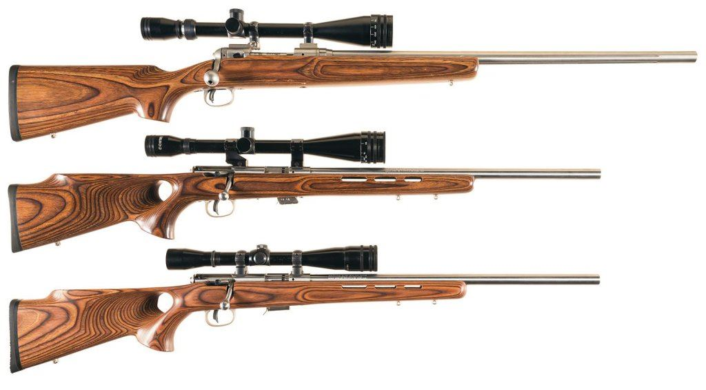 Three Savage Bolt Action Rifles with Scopes -A) Savage Model 12 BVSS Single  Shot Rifle