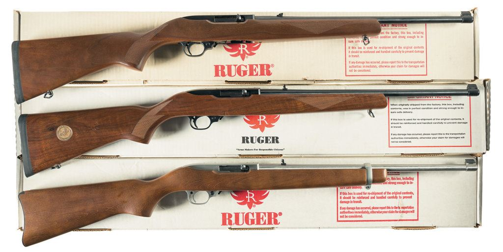 three ruger 10 22 semi automatic carbines a) ruger model 10 22image 1 three ruger 10 22 semi automatic carbines a) ruger