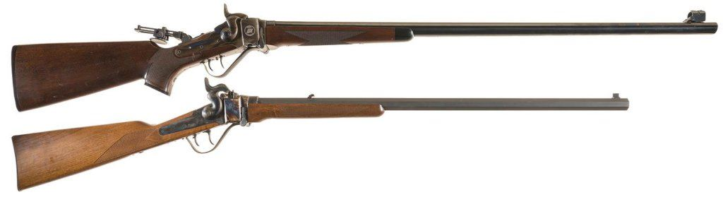 Two Reproduction Single Shot Rifles -A) Cimarron Firearms Model 1874  Creedmore Falling Block Rifle