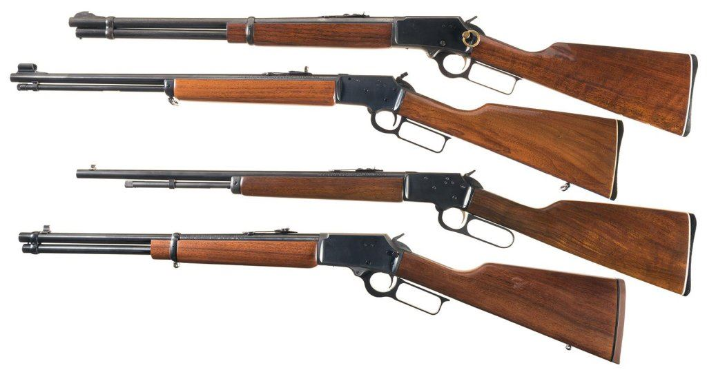 Four Marlin Lever Action Sporting Guns -A) Marlin Model 1894 Saddle Ring  Carbine