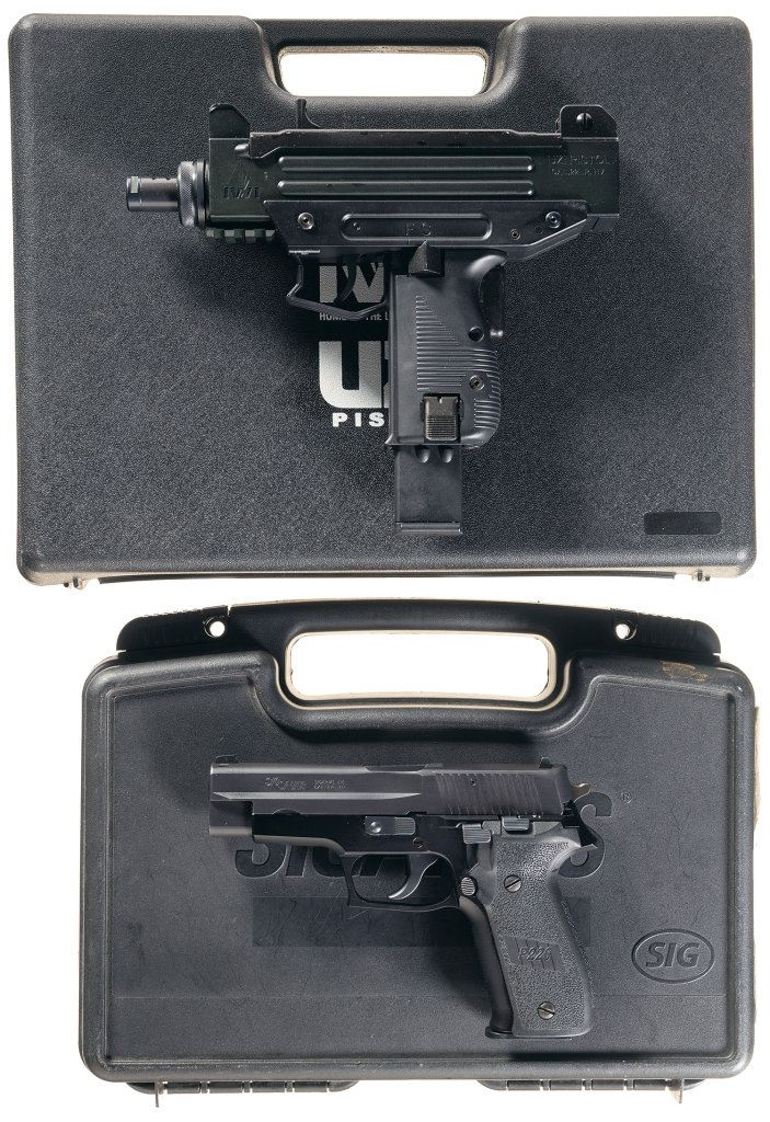 Two Semi-Automatic Pistols with Cases -A) Walther/I W I  UZI Pistol