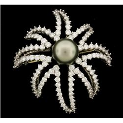 "BROOCH: Ladies plat Tiffany & Co signed ""Firework"" brooch; (1) rd Tahitian cultured pearl, 10.72mm;"