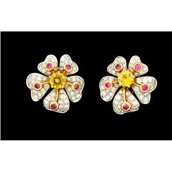EARRINGS: Ladies plat/18ky Tiffany & Co earrings; (2) rd yellow sapph, 6.05mm =est. 2.30cttw, V.Good