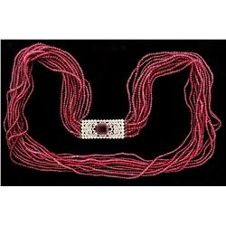 NECKLACE: Ladies plat Tiffany & Co necklace; (1) em rubelite tourmaline, 13.4mm x 11.07mm x 7.54mm =