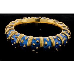 BRACELET: Ladies 18ky Tiffany & Co blue enamel bangle bracelet; 18.3mm wide; signed Schlumberger STD