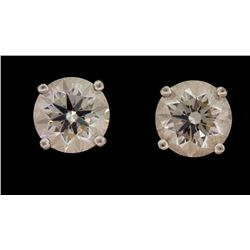 EARRINGS: Ladies plat Tiffany & Co studs; (1) rb, 7.30mm x 7.32mm x 4.37mm =est. 1.42ct, Vgood/G/VS1