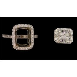 RING:  [1] Platinum ring set with a radiant cut diamond, 8.99 x 7.27 x 5.49mms = 3.01cts, good/ I/ S