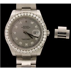 ROLEX: Men's St.Steel Rolex Oyster Perpetual DateJust Watch; 1 extra link; (39) RB diamonds, 3.0mm =