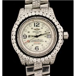 WATCH:  [1] Stainless steel gents Breitling SuperOcean Automatic watch set with aftermarket diamonds