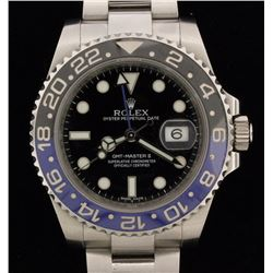 WATCH:  [1] Stainless Steel Gents. Rolex Oyster Perpetual GMT-Master II watch with blue dial, blue c