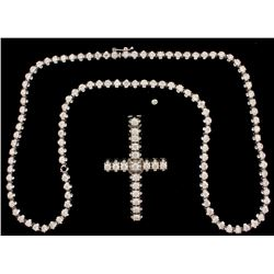 NECKLACE:  [1] 10KWG necklace set with 114 round diamonds, approx. 22.80 cttw., good/ I-L/ VS2-I1; 2