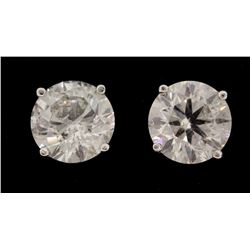 EARRINGS:  [1 pair] 14KWG earrings set with round diamonds, 10.10 x 6.25mms = approx. 4.04 cts, and