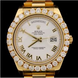 WATCH:  [1] 18KYG gents Rolex Oyster Perpetual Day Date II President watch with a white Roman numera