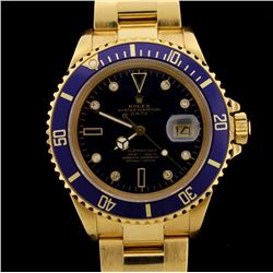 WATCH:  [1] 18KYG gents Rolex Submariner Oyster Perpetual Date watch with a blue Serti dial with dia