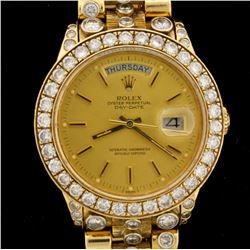 WATCH: [1] 18KYG gents Rolex Oyster Perpetual Day Date President watch with a gold dial, the bezel,