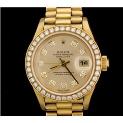 WATCH:  [1] 18KYG ladies Rolex Oyster Perpetual Datejust watch with a champagne dial with diamond ma