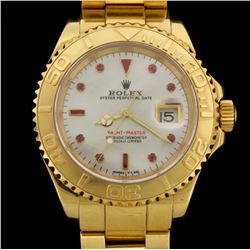 WATCH:  [1] 18KYG gents Rolex Yacht-Master watch with an aftermarket mother-of-pearl dial with ruby