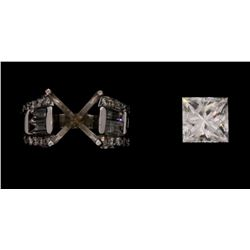 RING:  [1] 14KWG ring set with a princess cut diamond, 7.31 x 7.10 x 5.12mms = 2.13 cts., v. good/ H