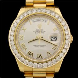 ROLEX: One Men's 18ky Rolex Oyster Perpetual DayDate President Watch; (36) RB diamonds, 3.0mm =est.