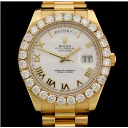 ROLEX: Men's 18ky Rolex Oyster Perpetual DayDate President; (28) RB diamonds, 3.90mm =est. 6.07 cttw