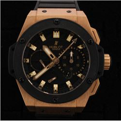 WATCH:  [1] 18KRG Hublot King Power Automatic Chronograph watch with a black rubber band and 18KRG H