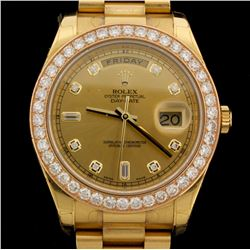 WATCH:  [1] 18KYG gents Rolex Oyster Perpetual Day Date President watch with a diamond marker dial a