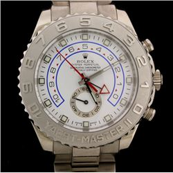 WATCH:  [1] 18KWG gents Rolex Oyster Perpetual Yachtmaster II Chrono watch with a white dial and an