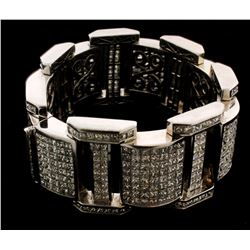 BRACELET:  [1] 14KWG bracelet set with 636 princess cut diamonds (2 are chipped), approx. 60.42 cttw