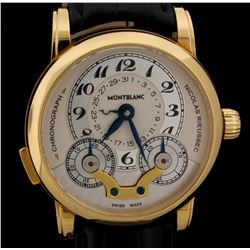 WATCH:  [1] 18KYG gents Montblanc Star Nicolas Rieussec Limited Edition watch with a skeleton back;