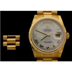 ROLEX:  [1] 18KYG gents Rolex Oyster Perpetual Day Date President's watch with a Roman numeral white