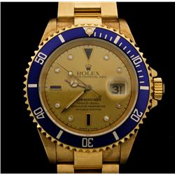 WATCH:  [1] 18KYG gents Rolex Submariner Oyster Perpetual Date watch with a gold tone dial with diam
