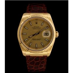 WATCH:  [1] 18KYG gents Rolex Oyster Perpetual DateJust watch with a champagne dial, fluted bezel an
