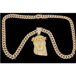 CHAIN & PENDANT: [1] 14KYG 30 inch curb link chain set with round diamonds, approximately 26.00 cttw