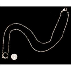NECKLACE:  [1] Platinum rolo chain necklace with a center setting set with a round brilliant cut dia