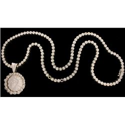 NECKLACE:  [1] 14KWG necklace set with 137 round diamonds, approx. 19.18 cttw., good/ J-K/ SI2-I1, s