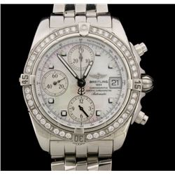 WATCH:  [1] Stainless steel gents Breitling Chronomat Evolution Automatic watch with a mother-of-pea