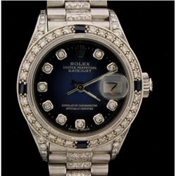 WATCH:  [1] 18KWG ladies Rolex Oyster Perpetual Datejust watch with an aftermarket shaded blue dial