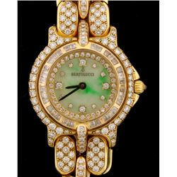 WATCH:  [1] 18KY & RG ladies Bertolucci Pulchra watch with an aftermarket green and white jade dial
