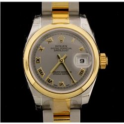 WATCH: [1] Stainless steel & 18KYG ladies Rolex Oyster Perpetual DateJust watch with a grey Roman di