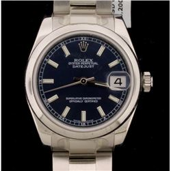 WATCH: [1]  Stainless steel unisex mid size Rolex Oyster Perpetual DateJust watch with a blue dial,