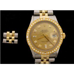 WATCH: [1] Stainless steel & 18KYG gents Rolex Oyster Perpetual DateJust watch with an aftermarket c