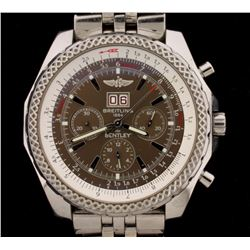 WATCH:  [1] Stainless steel gents Breitling for Bentley Motors chronograph watch with a brown dial,