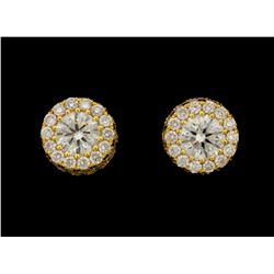 EARRINGS:  [1 pair] 14KYG earrings set with 88 round diamonds, approx. 1.32 cttw., good/ H/I/ VS2-SI