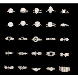 RINGS:  [3] 14KWG ring set with diamonds, approx. 2.38 cttw., good - fair/ H-J/ SI1-I1; 2 are set wi