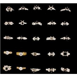 RINGS: [16] 18KWG  & YG assorted semi-mount rings, set with diamonds, approx. 8.08 cttw., good/ G-I