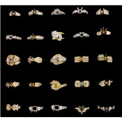 RINGS [3] 18KWG & YG assorted semi-mount rings set with diamonds, approx. 1.30 cttw., fair-good/ G-I