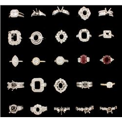 RINGS: [25] 18KW & YG assorted rings set w/diamonds, approx. 20.69 cttw., good/ G-I/ VS-SI, 154.7 gr