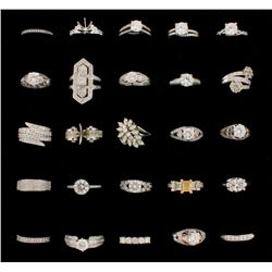 RINGS: [2] Platinum rings set w/diamonds, approx. 1.55 cttw., good/ H-I/ VS, 8.1 grams; [3] 18KWG ri